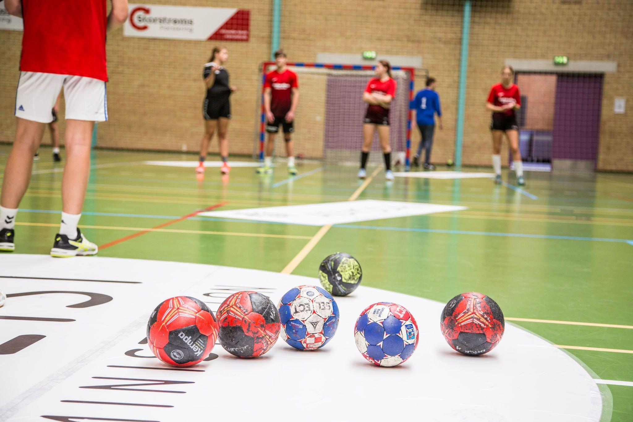Closeup af bolde til håndboldtræning